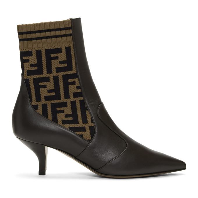 Fendi Brown Forever Fendi Rockoko Boots