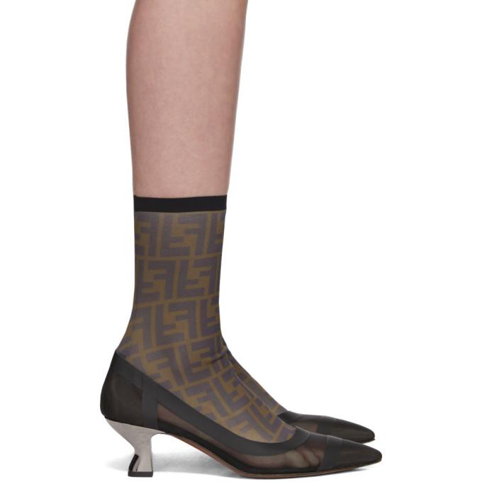 Fendi Black Mesh 'Forever Fendi' Colibrì Sock Boots
