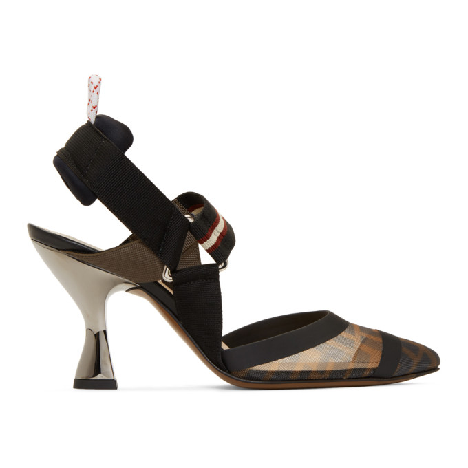 Fendi Black 'Forever Fendi' Colibri 85 Slingback Heels