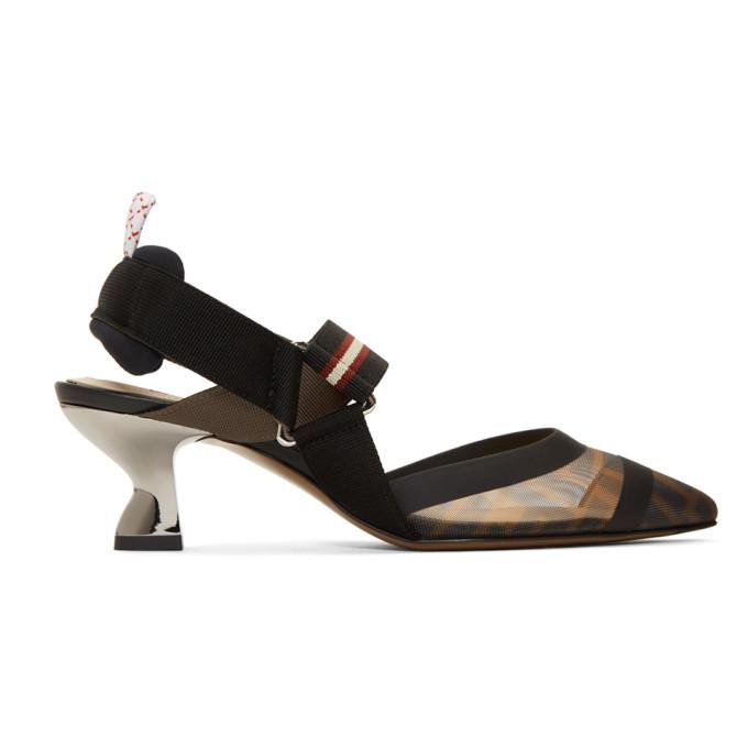 Fendi Black 'Forever Fendi' Colibri 55 Slingback Heels