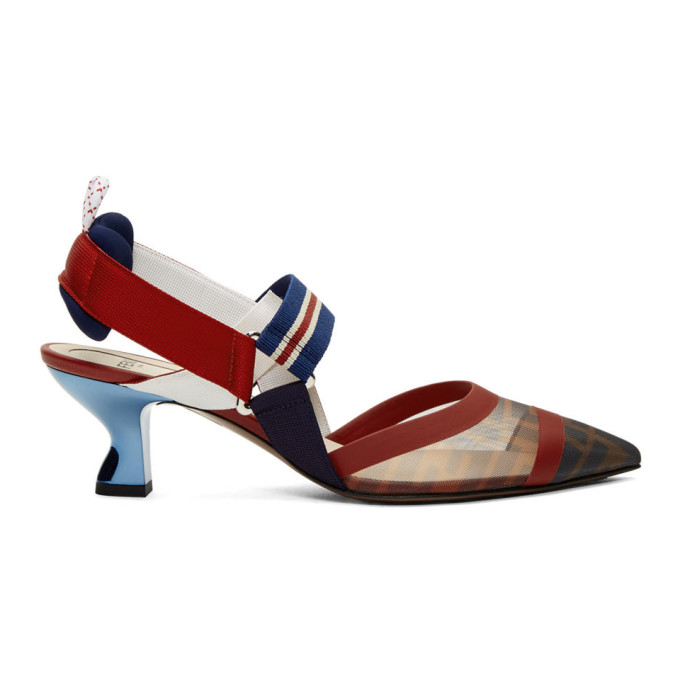 Fendi Navy & Red Colibri Slingback Heels