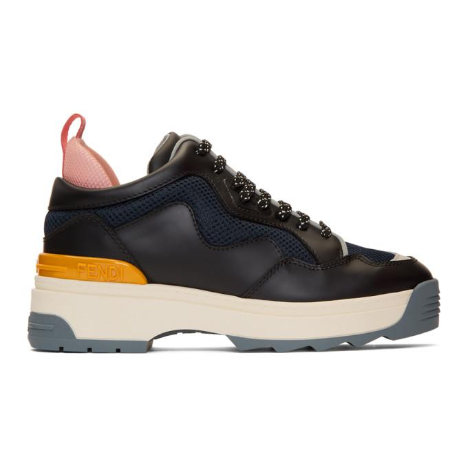 Fendi Black Leather T-Rex Sneakers