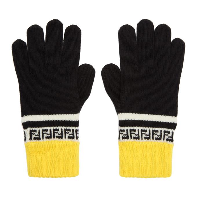 Fendi Black and Yellow Wool Forever Fendi Gloves