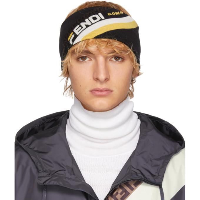 4ad4a1c13c3 Fendi Black Wool Fendi Mania Headband