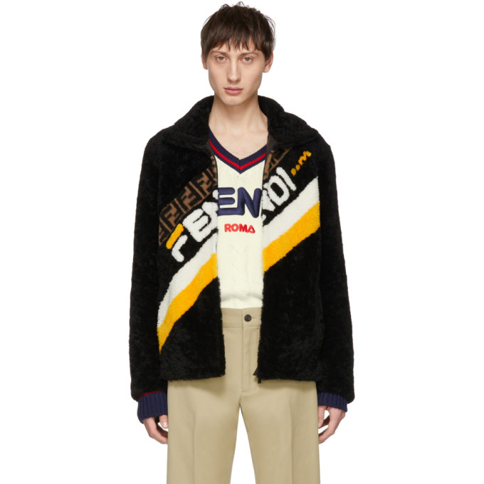 Fendi Black Shearling Fendi Mania Jacket