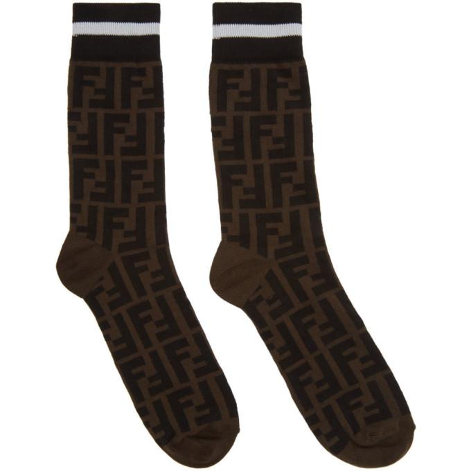 Fendi Black and Brown Forever Fendi Socks