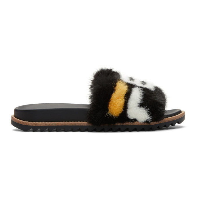 a733c370c70f Fendi - Mania Mink And Leather Slides - Mens - Black Multi In F14Zc ...