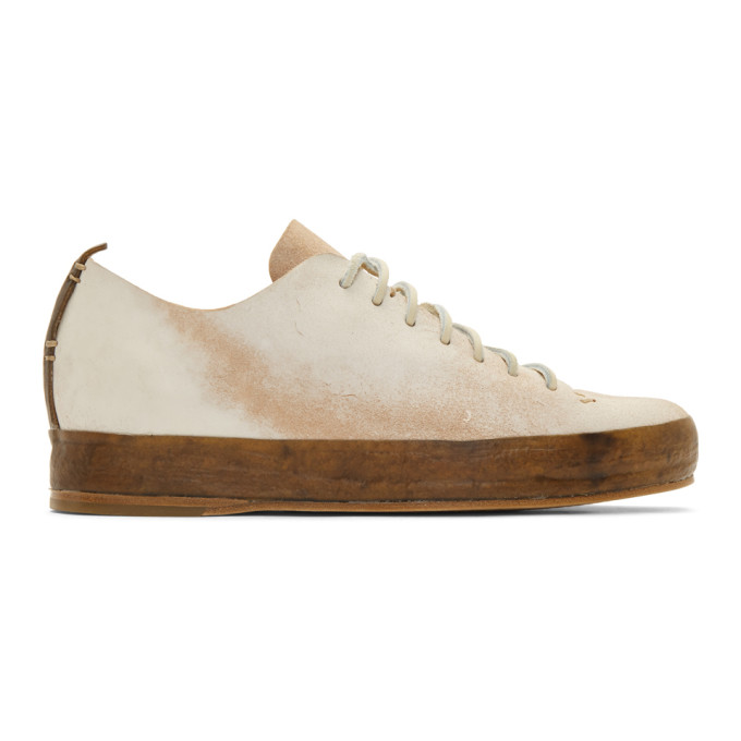 Feit Baskets cousues a la main blanches Raw Low