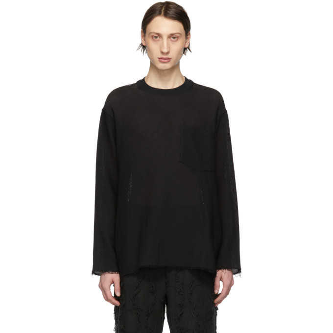 Song For The Mute Sweaters SONG FOR THE MUTE BLACK CROPPED RAW SWEATER