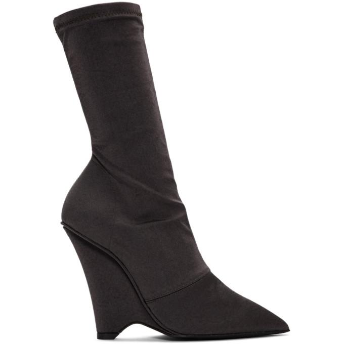 YEEZY | YEEZY Black Satin Stretch Wedge Boots | Goxip