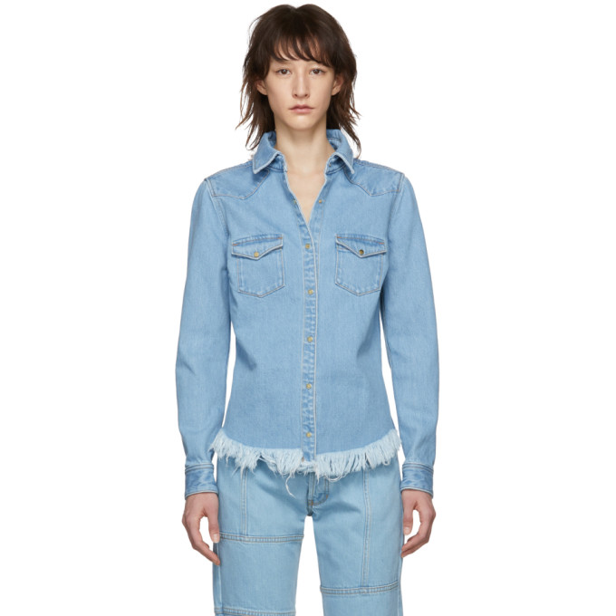 Marques Almeida Chemise en denim bleue Fitted Cowboy