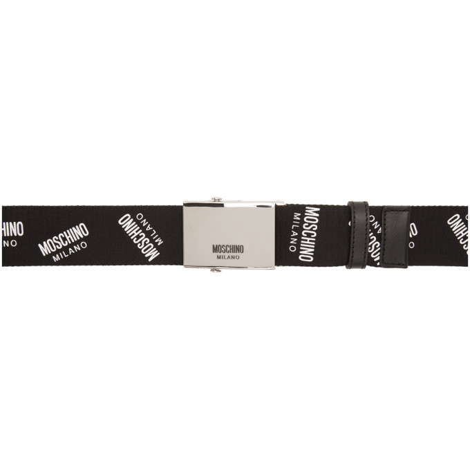 Moschino Pants MOSCHINO BLACK WEBBING LOGO BELT