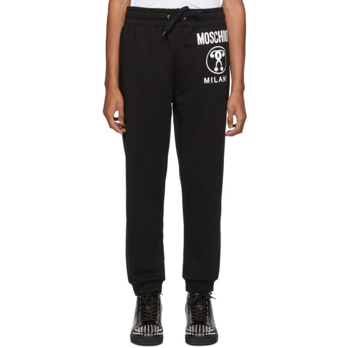 Image of Moschino Black Double Question Mark Lounge Pants