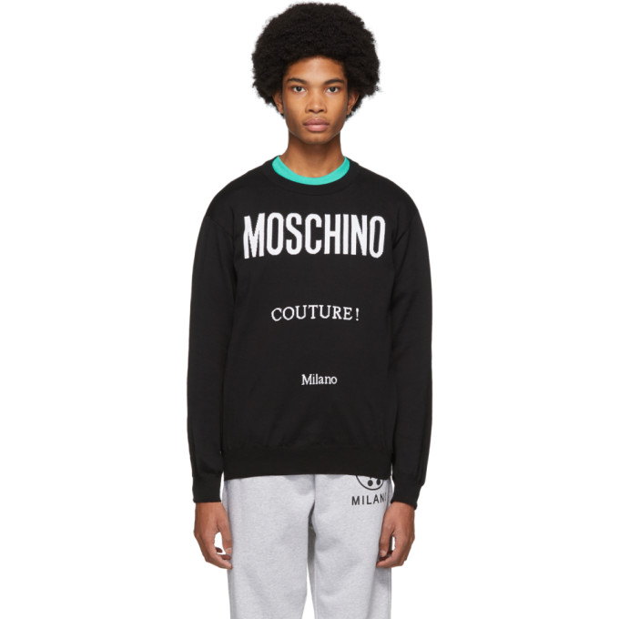 Image of Moschino Black Jacquard 'Couture!' Sweater