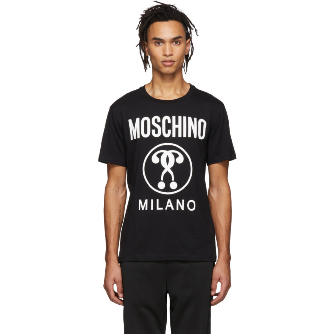 Moschino MOSCHINO BLACK DOUBLE QUESTION MARK T-SHIRT
