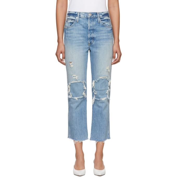 Image of Amo Blue High-Rise Loverboy Patch Repair Jeans