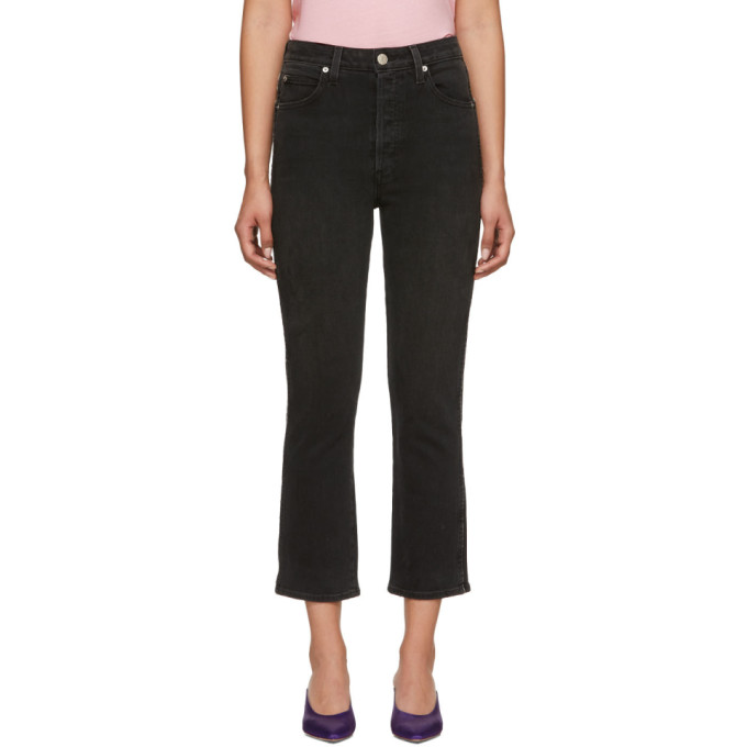 Image of Amo Black Chloe Crop Piping Jeans