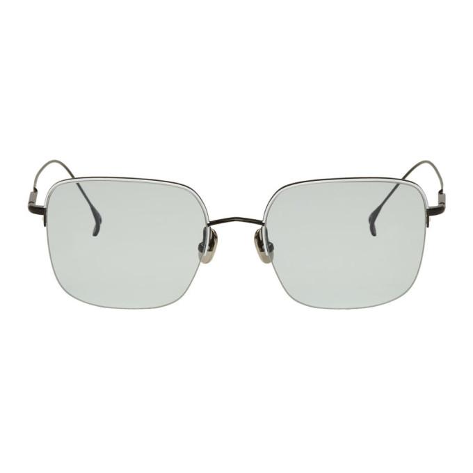 Issey Miyake Men Black & White Square V Sunglasses