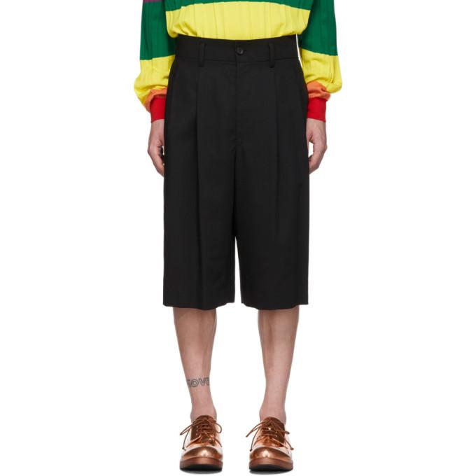 Issey Miyake Shorts ISSEY MIYAKE MEN BLACK WOOL VOILE SHORTS