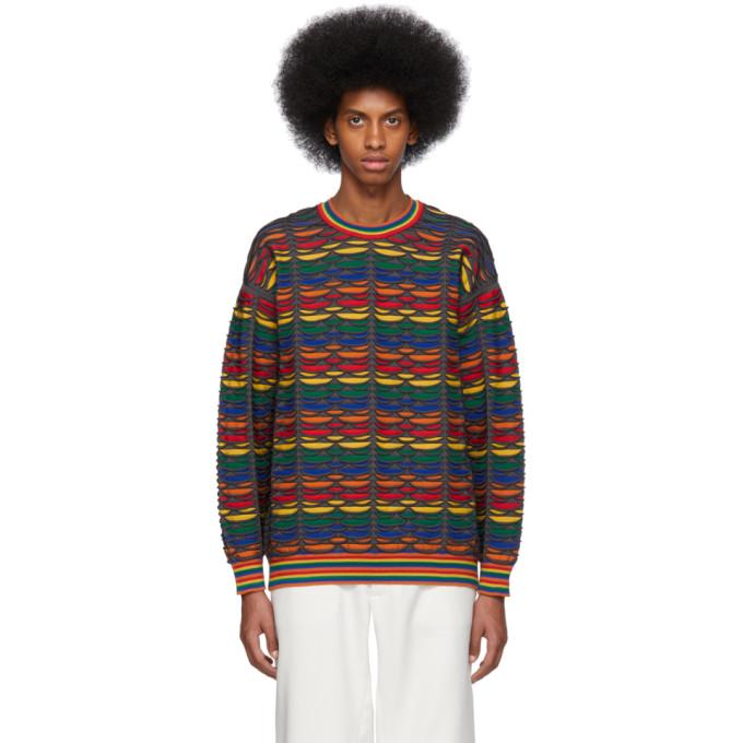 Issey Miyake Sweaters ISSEY MIYAKE MEN MULTICOLOR ROLL PATTERN SWEATER