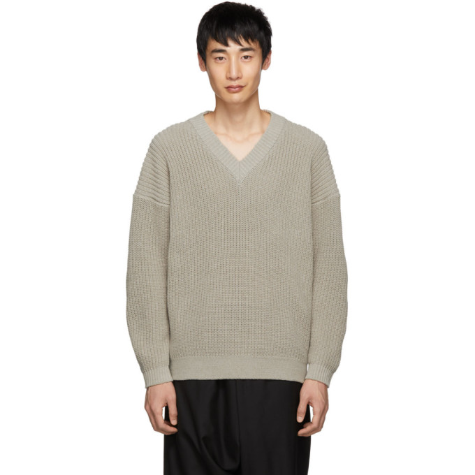 Image of Issey Miyake Men Beige Rib Low Gauge Sweater