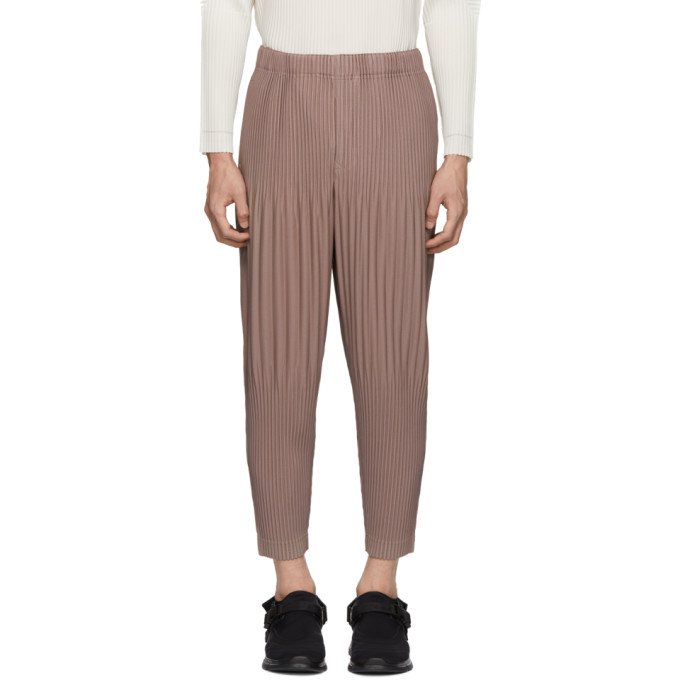 HOMME PLISSE ISSEY MIYAKE Homme Plisse Issey Miyake Pink Cropped Wide Pleat Trousers in 42 Rose