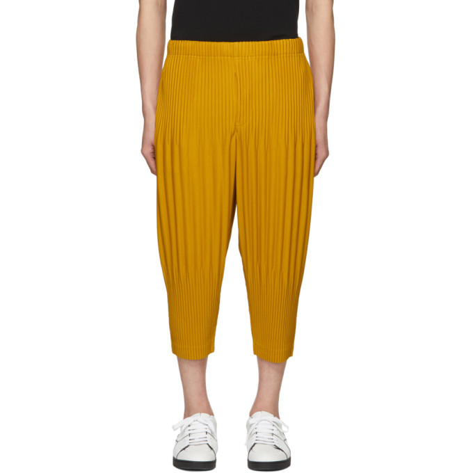 Homme Plisse Issey Miyake Pants HOMME PLISSE ISSEY MIYAKE YELLOW PLEAT WIDE TROUSERS