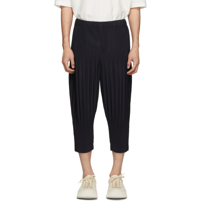 HOMME PLISSE ISSEY MIYAKE Homme Plisse Issey Miyake Navy Cropped Wide Pleat Trousers in 75 Navy