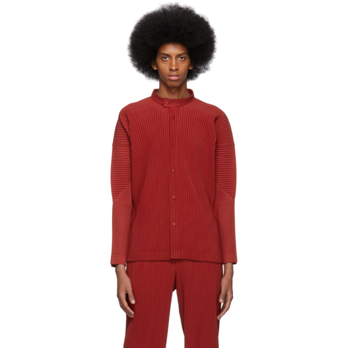 Homme Plisse Issey Miyake Chemise a col officier plissee rouge