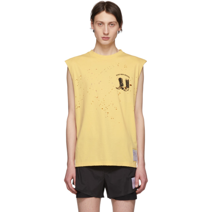 Satisfy T-shirt jaune Boots Moth Eaten Muscle