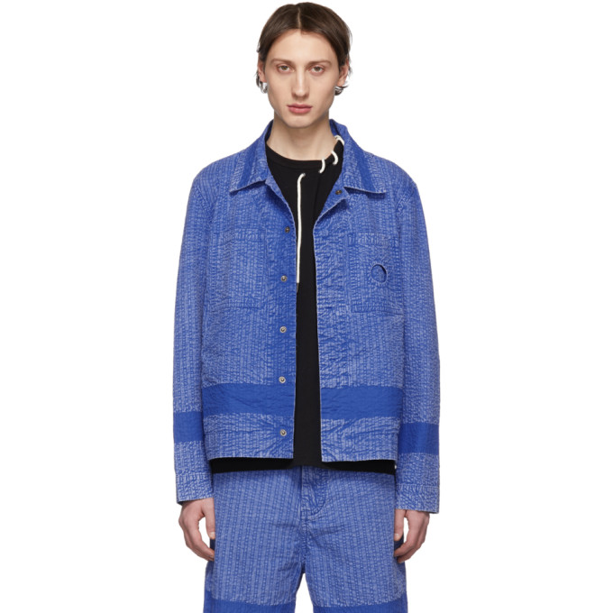 Craig Green Blouson bleu Acid Wash Line Stitch Worker