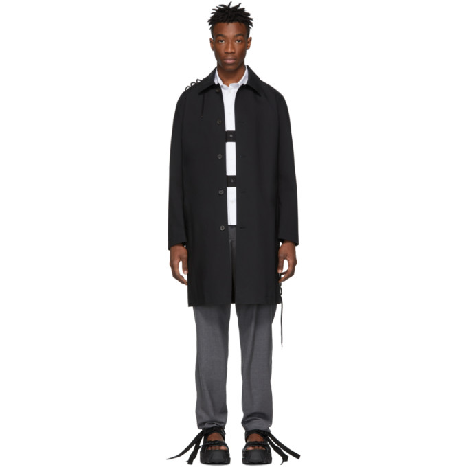 Image of Craig Green Black Laced Long Trench Coat