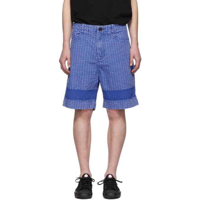 Craig Green Short bleu Acid Wash Line Stitch