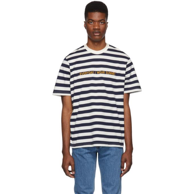Image of Sunnei Navy & White Striped 'Everyday I Wear Sunnei' T-Shirt