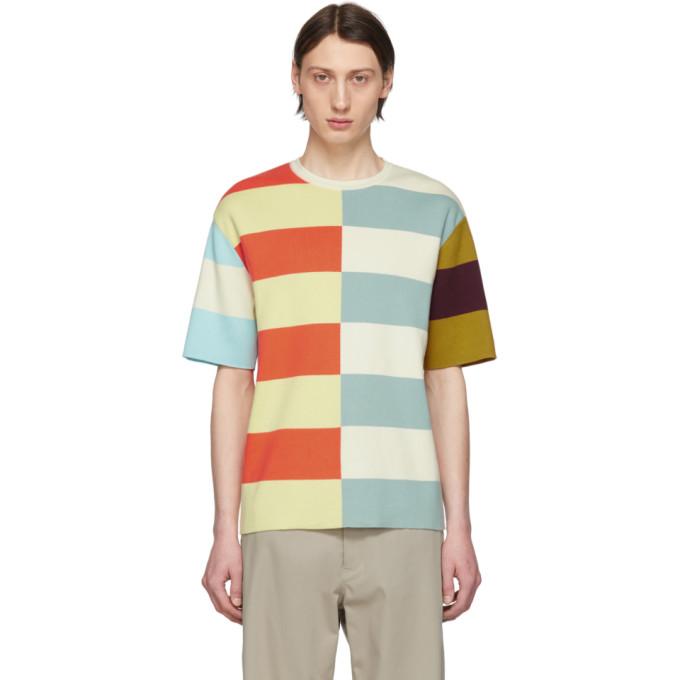 Image of Sunnei Orange & Blue Multicolor Knit T-Shirt