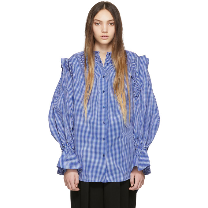 Enfold Chemise a carreaux bleue Ruffle Sleeve
