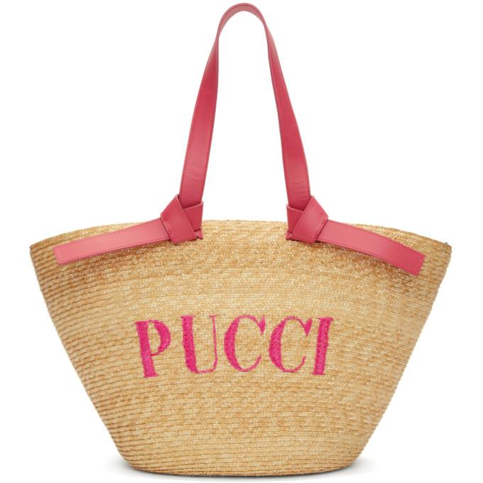 Emilio Pucci Tan Logo Bucket Tote