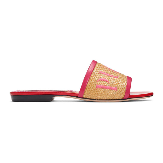 Emilio Pucci Tan & Pink Logo Sandals
