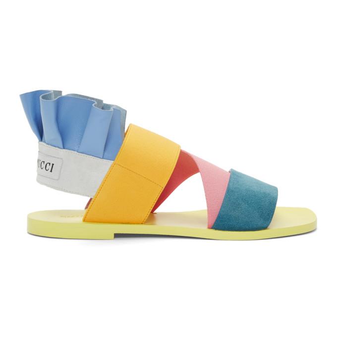 Emilio Pucci Blue Ruffle Sandals