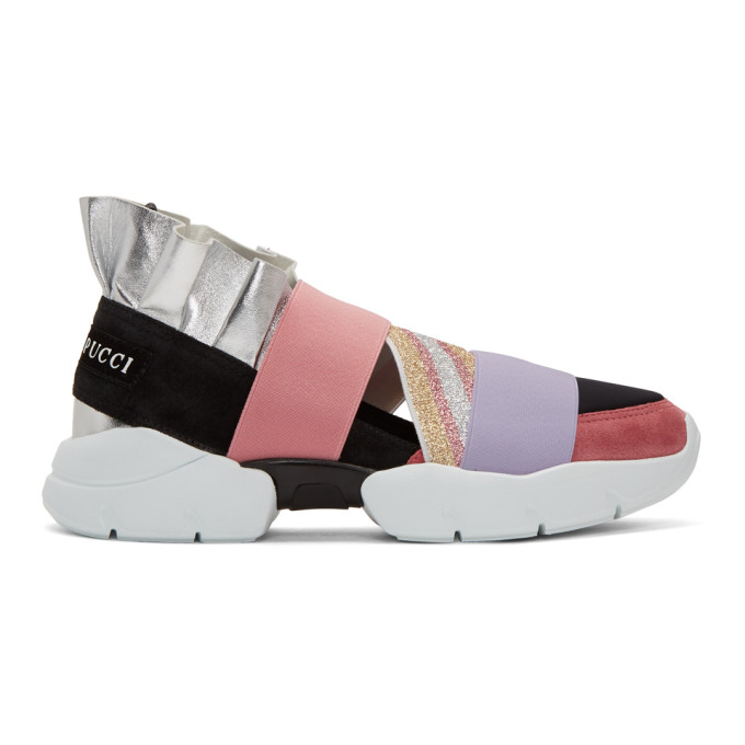 Emilio Pucci Pink And Black City Up Sneakers in A02 Silver