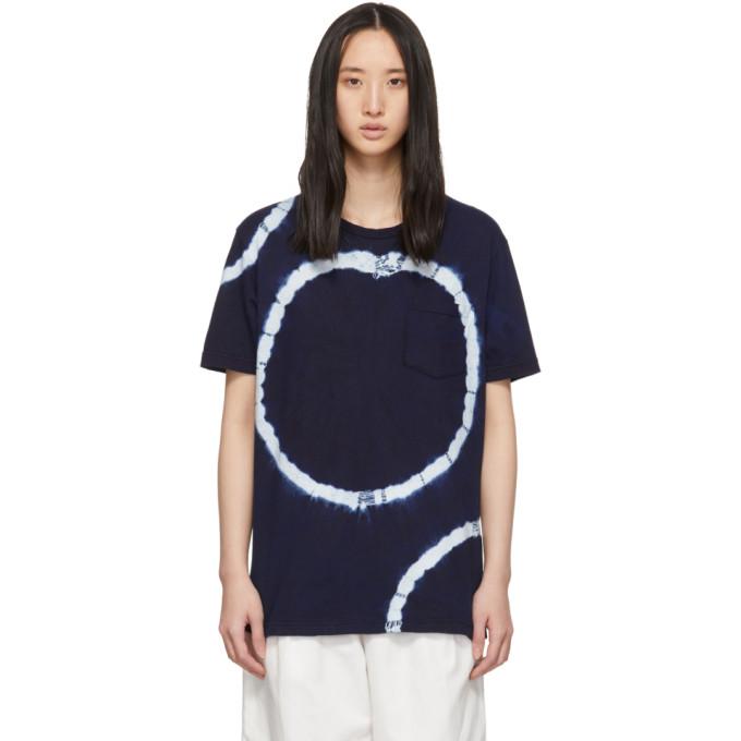 Blue Blue Japan T-shirt bleu marine Big Circle Shibori