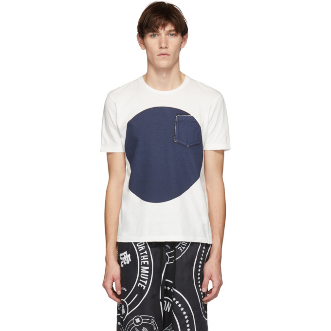 BLUE BLUE JAPAN Blue Blue Japan Ssense Exclusive White And Indigo Big Circle T-Shirt in 3 - White