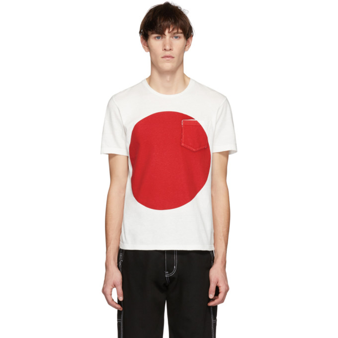BLUE BLUE JAPAN Blue Blue Japan Ssense Exclusive White And Red Big Circle T-Shirt in 4- Red