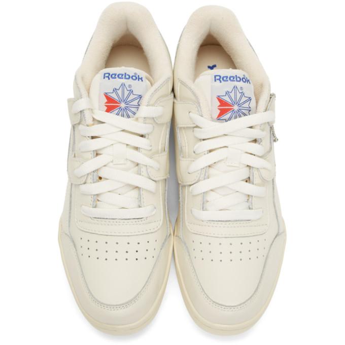 Reebok Classics White Workout Plus 1987 Tv Sneakers In White Blue ... a79eadd2b