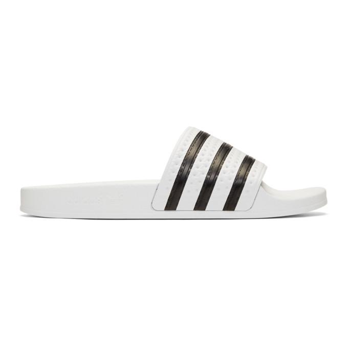 Adidas Originals ADIDAS ORIGINALS WHITE ADILETTE POOL SLIDES