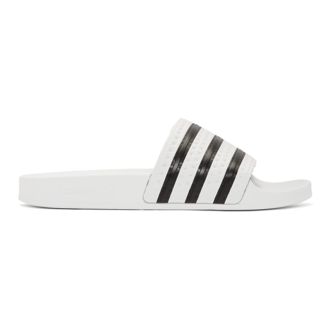 adidas Originals White and Black Adilette Sandals