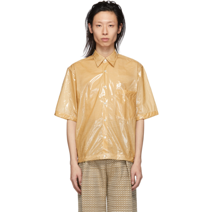 Image of CMMN SWDN Beige Coated Cotton Damien Shirt