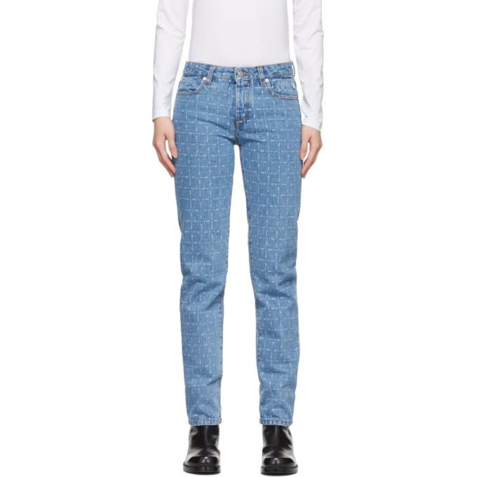 1017 ALYX 9SM Blue Logo Check Jeans 191776F06900104