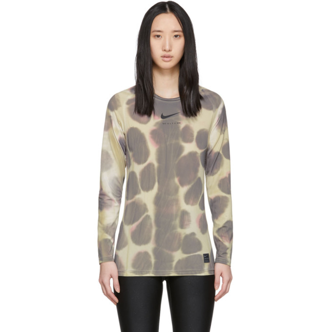 1017 ALYX 9SM Multicolor Nike Edition Camo Transfer Long Sleeve T Shirt 191776F11000203