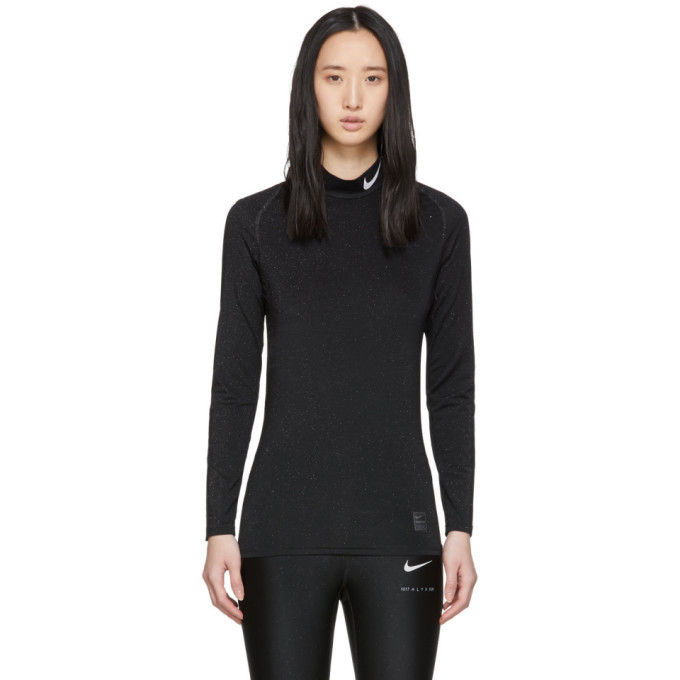 1017 ALYX 9SM Black Nike Edition Glitter Training Long Sleeve T Shirt 191776F11000403